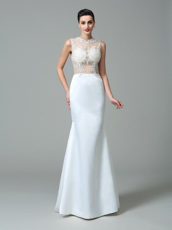 Sheath/Column Applique Jewel Sleeveless Sweep/Brush Train Satin Wedding Dresses