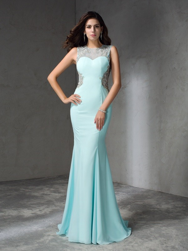 Trumpet/Mermaid Beading Jewel Sleeveless Sweep/Brush Train Chiffon Dresses