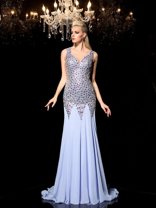 Sheath/Column Rhinestone Straps Sleeveless Sweep/Brush Train Chiffon Dresses