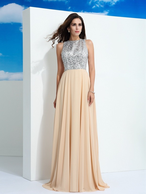 A-Line/Princess Paillette Scoop Sleeveless Sweep/Brush Train Chiffon Dresses