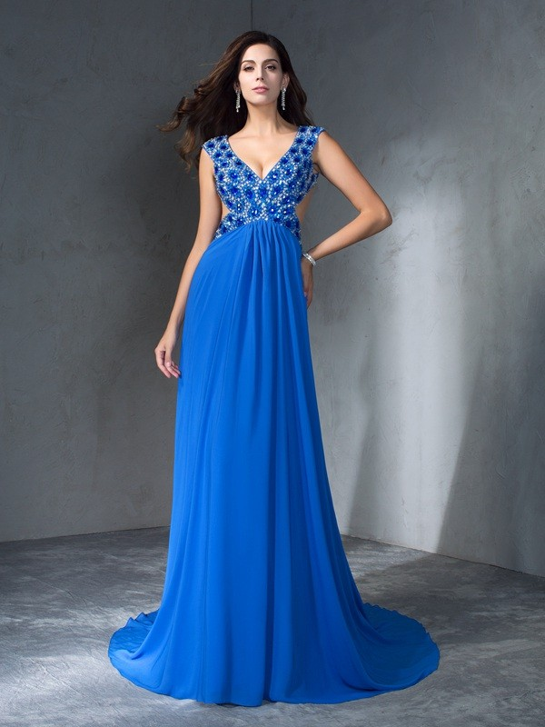 A-Line/Princess Sequin V-neck Sleeveless Sweep/Brush Train Chiffon Dresses