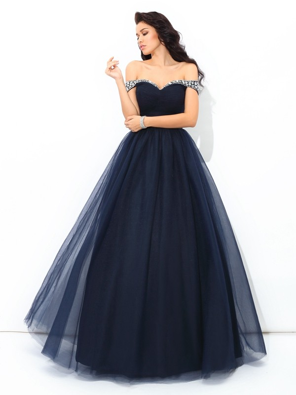 Ball Gown Beading Off-the-Shoulder Sleeveless Floor-Length Net Dresses