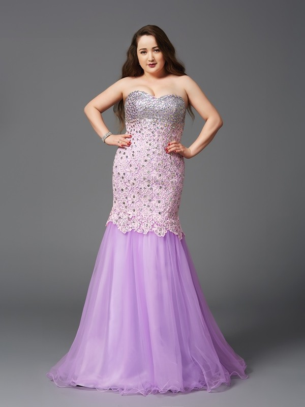 Trumpet/Mermaid Beading Sweetheart Sleeveless Sweep/Brush Train Net Plus Size Dresses