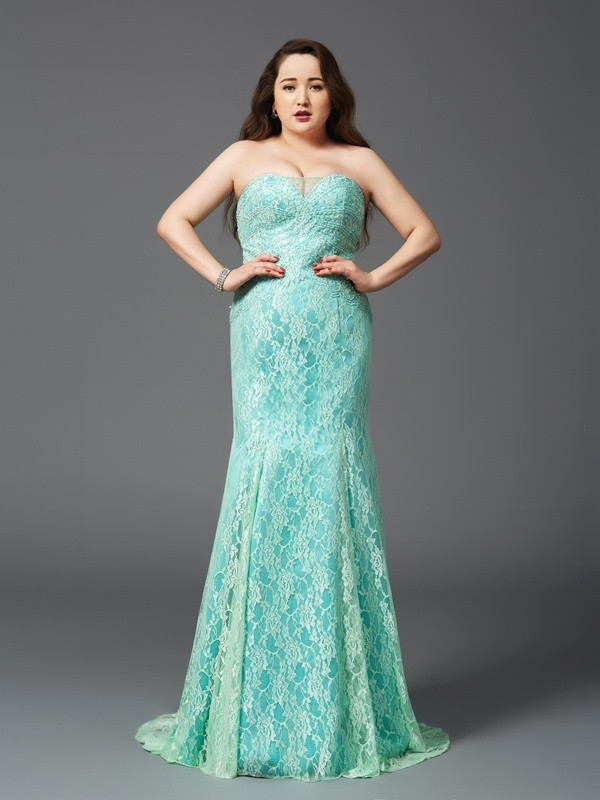 Sheath/Column Lace Strapless Sleeveless Court Train Satin Plus Size Dresses
