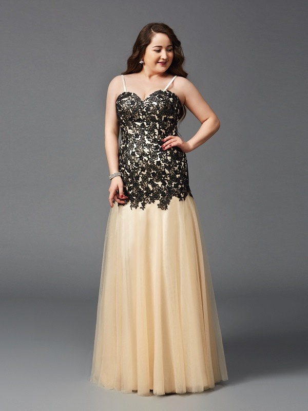 Sheath/Column Applique Spaghetti Straps Sleeveless Floor-Length Net Plus Size Dresses