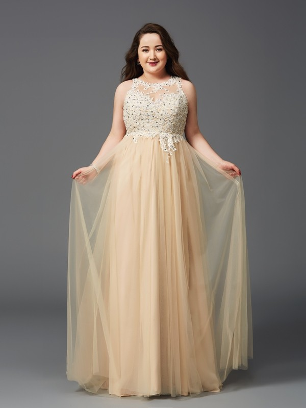 A-Line/Princess Rhinestone Scoop Sleeveless Floor-Length Net Plus Size Dresses
