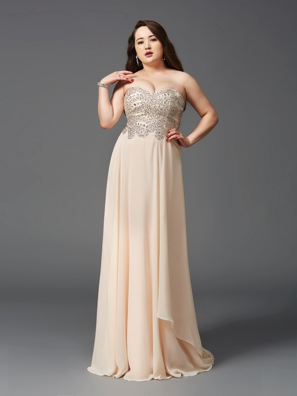 A-Line/Princess Rhinestone Sweetheart Sleeveless Sweep/Brush Train Chiffon Plus Size Dresses