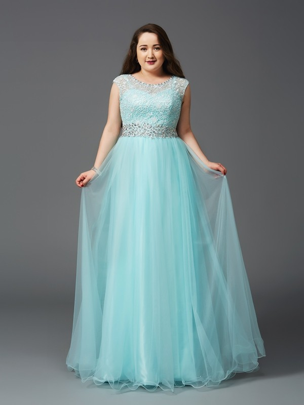 A-Line/Princess Rhinestone Scoop Sleeveless Floor-Length Elastic Woven Satin Plus Size Dresses