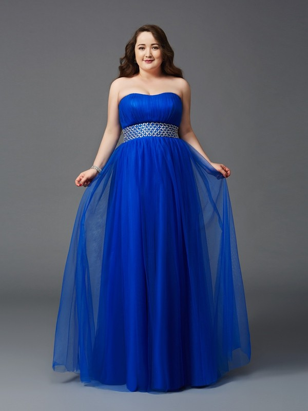 A-Line/Princess Rhinestone Strapless Sleeveless Floor-Length Net Plus Size Dresses