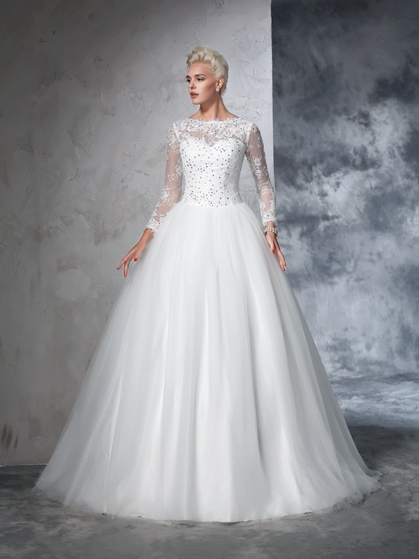 Ball Gown Lace Bateau Long Sleeves Sweep/Brush Train Net Wedding Dresses