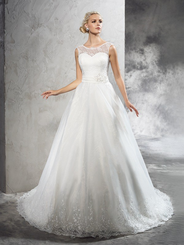Ball Gown Sash/Ribbon/Belt Sheer Neck Sleeveless Court Train Net Wedding Dresses