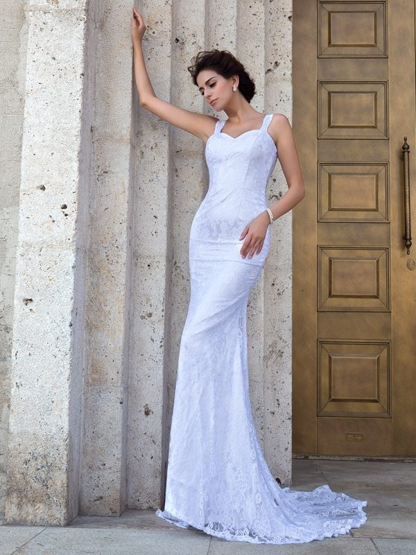 Sheath/Column Lace Straps Sleeveless Court Train Lace Wedding Dresses