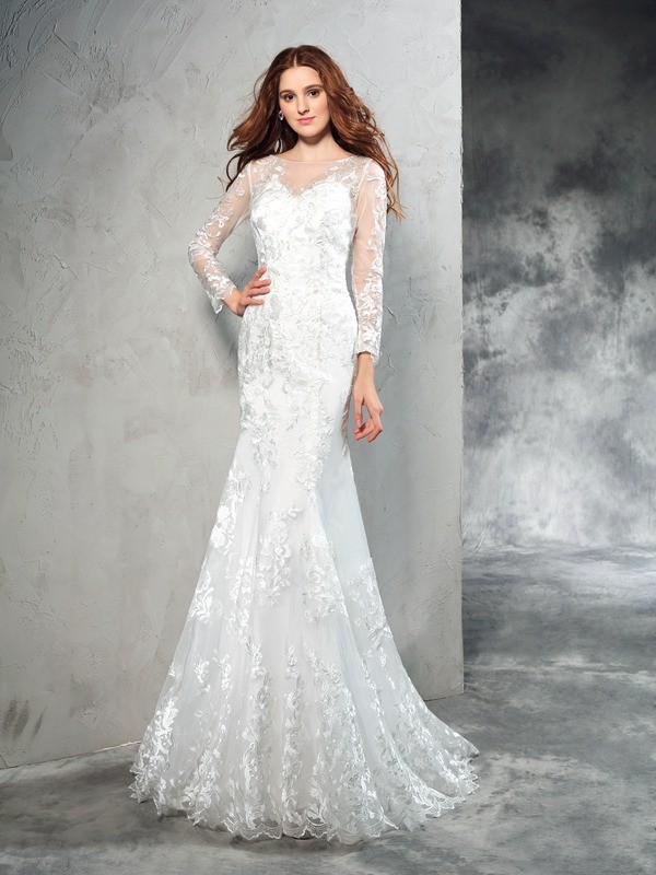 Sheath/Column Lace Sheer Neck Long Sleeves Sweep/Brush Train Net Wedding Dresses