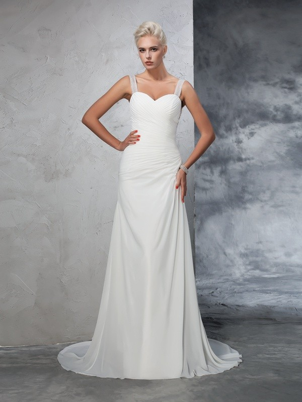Trumpet/Mermaid Ruched Straps Sleeveless Court Train Chiffon Wedding Dresses