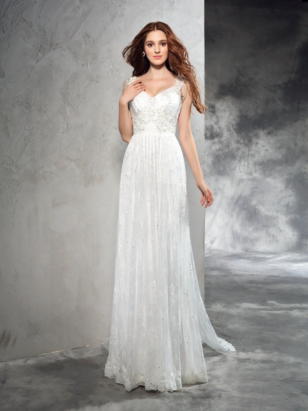 A-Line/Princess Lace Straps Sleeveless Court Train Lace Wedding Dresses