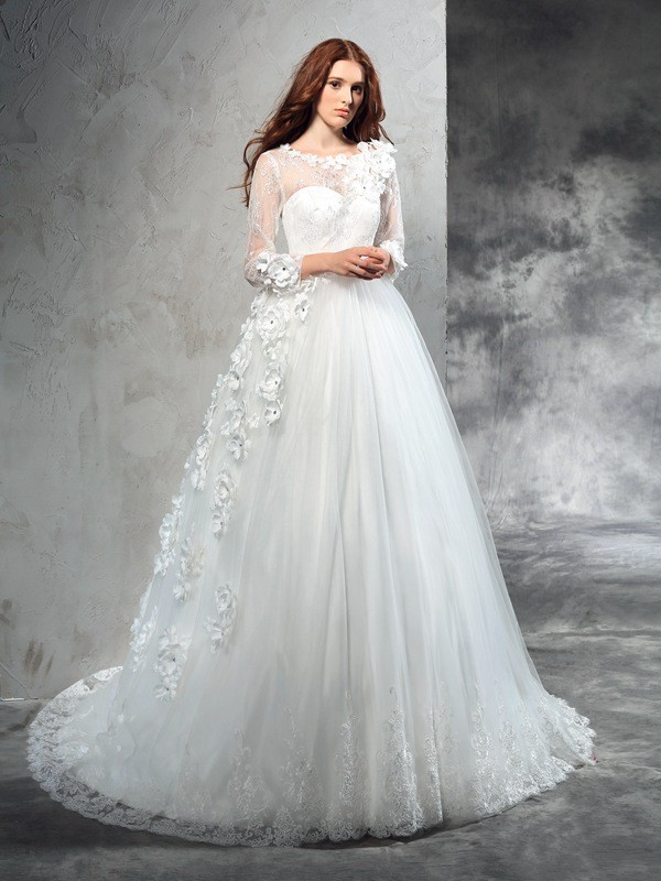 Ball Gown Hand-Made Flower Sheer Neck Long Sleeves Court Train Net Wedding Dresses