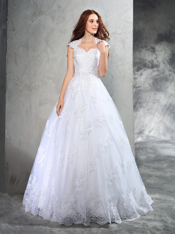 Ball Gown Lace Sweetheart Sleeveless Court Train Organza Wedding Dresses