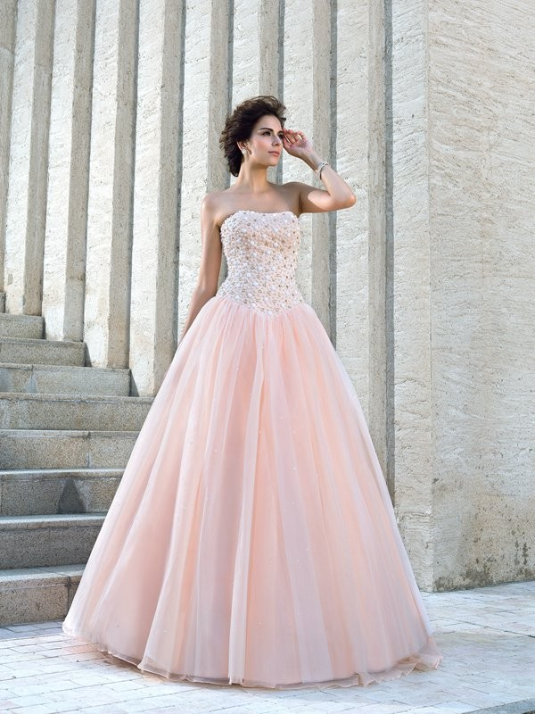 Ball Gown Beading Strapless Sleeveless Floor-Length Satin Wedding Dresses