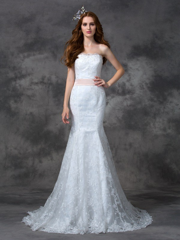 Trumpet/Mermaid Sash/Ribbon/Belt Strapless Sleeveless Court Train Lace Wedding Dresses