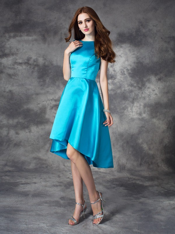 A-Line/Princess Ruffles Bateau Sleeveless Asymmetrical Satin Bridesmaid Dresses