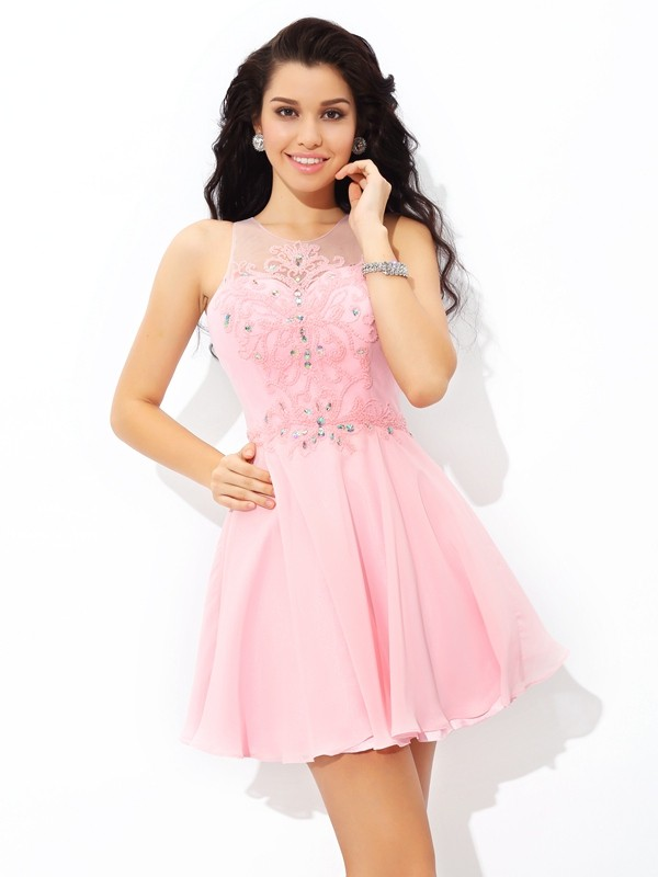 A-Line/Princess Applique Sheer Neck Sleeveless Short/Mini Chiffon Dresses