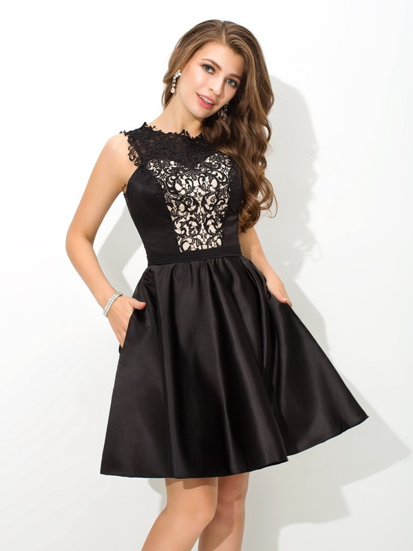 A-Line/Princess Lace Scoop Sleeveless Short/Mini Satin Dresses