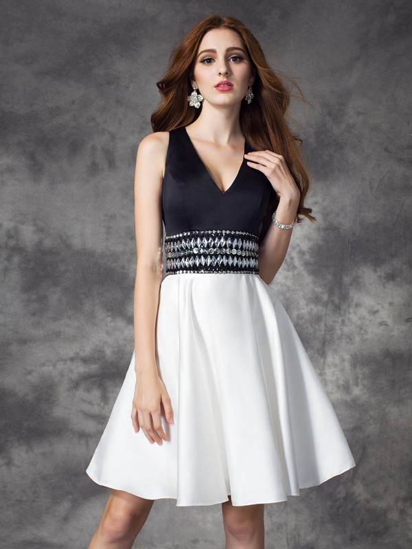 A-Line/Princess Rhinestone V-neck Sleeveless Short/Mini Satin Dresses