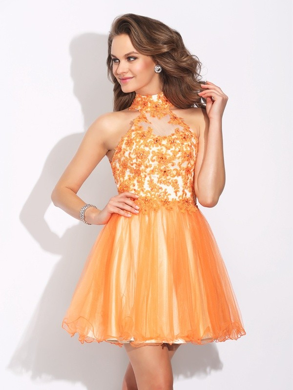 A-Line/Princess Ruffles High Neck Sleeveless Short/Mini Net Dresses