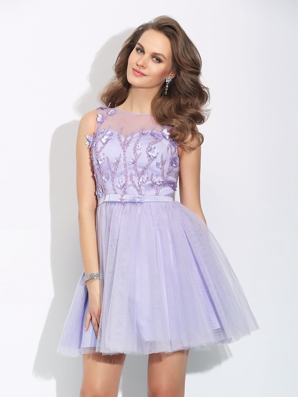 A-Line/Princess Applique Bateau Sleeveless Short/Mini Satin Dresses