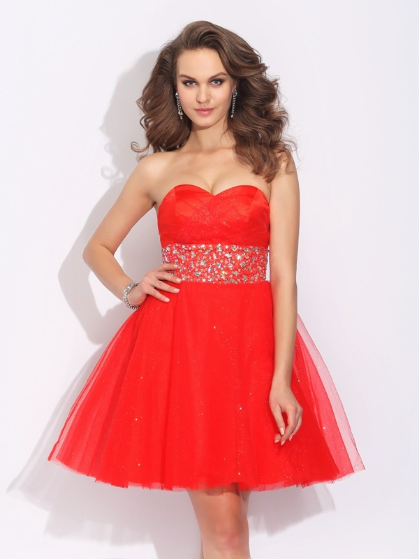 A-Line/Princess Rhinestone Sweetheart Sleeveless Short/Mini Net Dresses