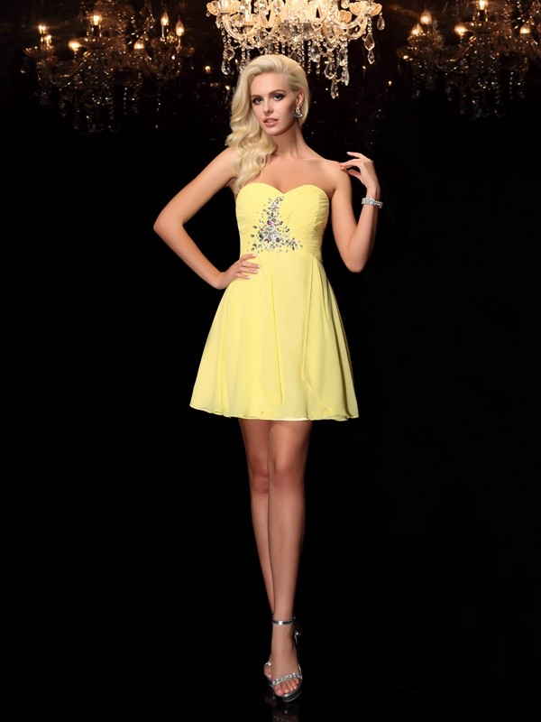 A-Line/Princess Rhinestone Sweetheart Sleeveless Short/Mini Chiffon Dresses