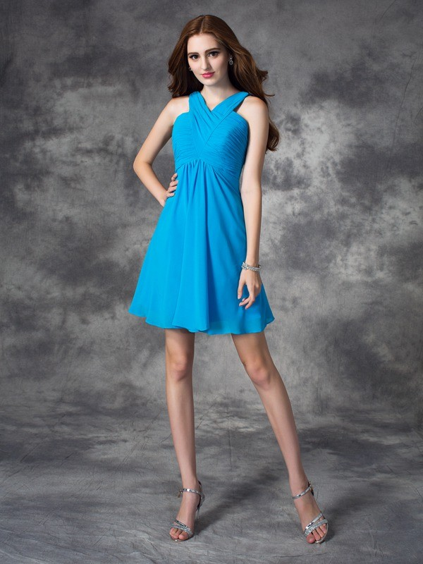 A-Line/Princess Ruffles V-neck Sleeveless Short/Mini Silk like Satin Dresses
