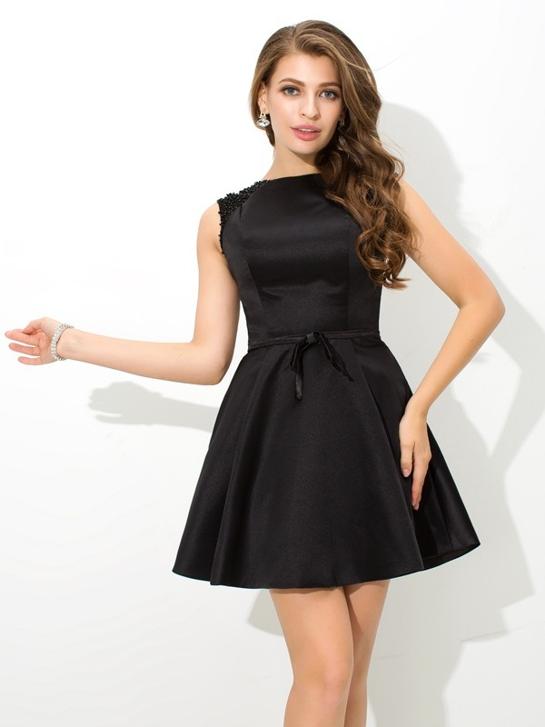 A-Line/Princess Sash/Ribbon/Belt High Neck Sleeveless Short/Mini Satin Dresses