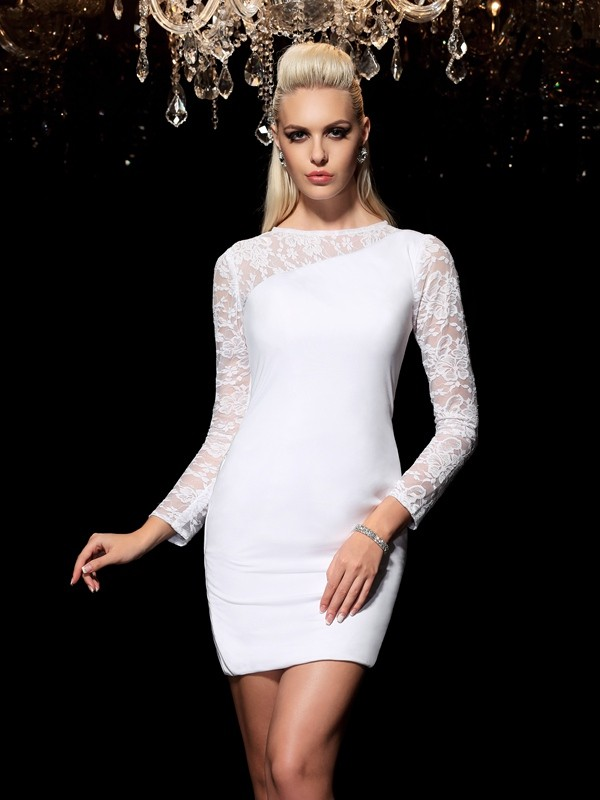 Sheath/Column Lace Scoop Long Sleeves Short/Mini Elastic Woven Satin Dresses