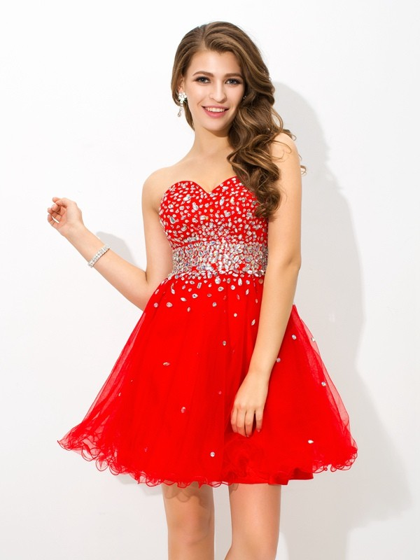 A-Line/Princess Beading Sweetheart Sleeveless Short/Mini Organza Dresses