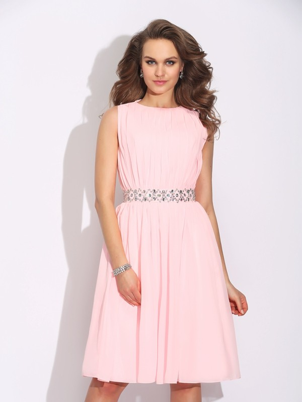 A-Line/Princess Ruffles Jewel Sleeveless Knee-Length Chiffon Dresses