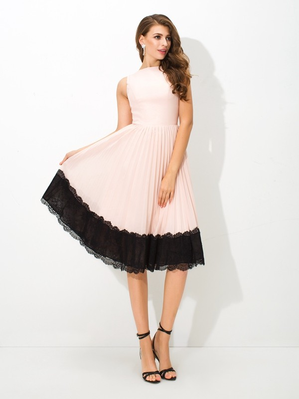 A-Line/Princess Lace High Neck Sleeveless Tea-Length Chiffon Dresses