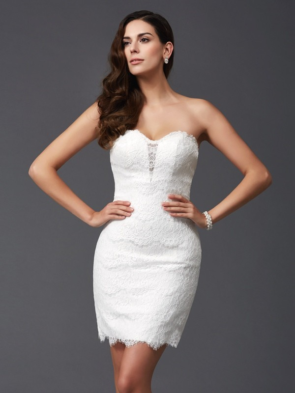 Sheath/Column Lace Sweetheart Sleeveless Short/Mini Lace Dresses