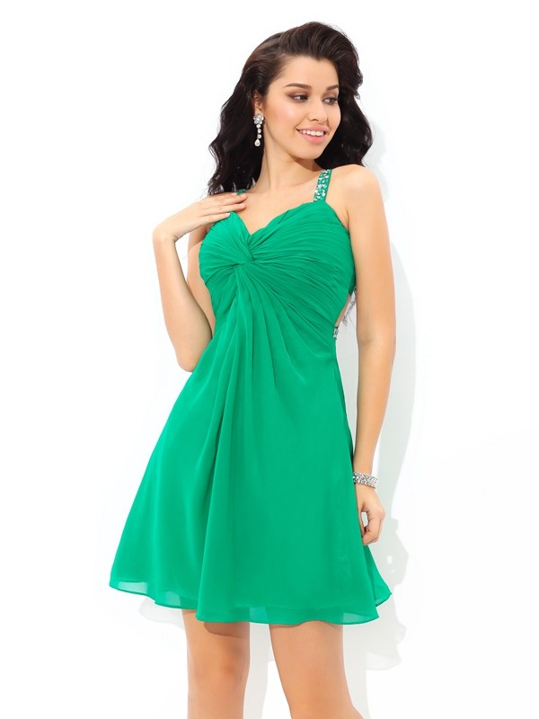 A-Line/Princess Pleats Straps Sleeveless Short/Mini Chiffon Dresses