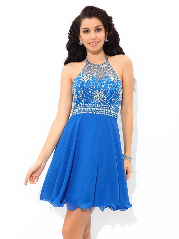 A-Line/Princess Beading Halter Sleeveless Short/Mini Chiffon Dresses