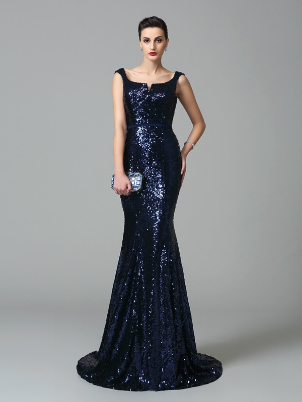 Trumpet/Mermaid Straps Sleeveless Sweep/Brush Train Sequins Dresses