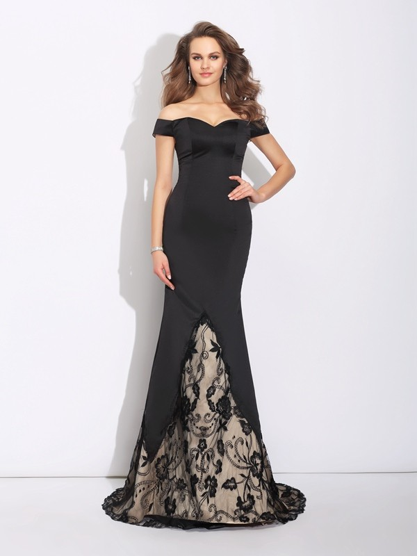 e1d2d1f9c37 Trumpet Mermaid Lace Off-the-Shoulder Sleeveless Sweep Brush Train Satin  Dresses