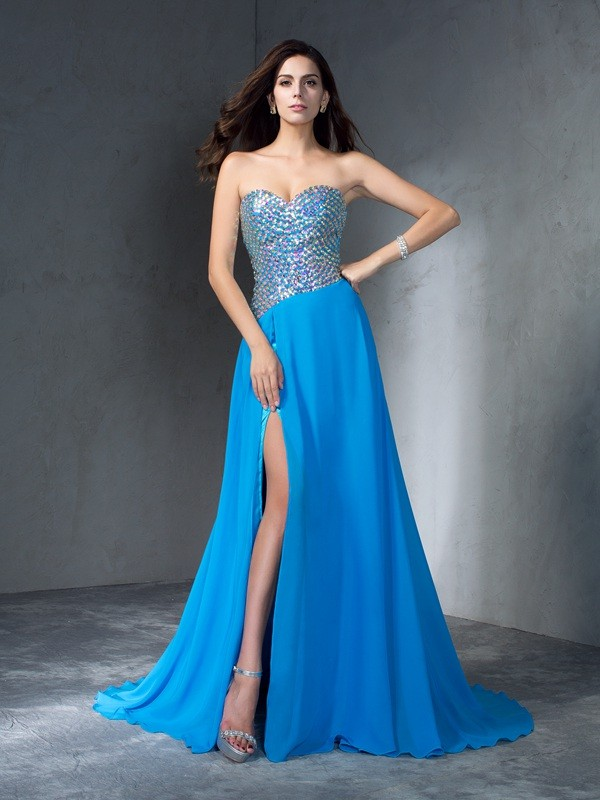 A-Line/Princess Sequin Sweetheart Sleeveless Sweep/Brush Train Chiffon Dresses