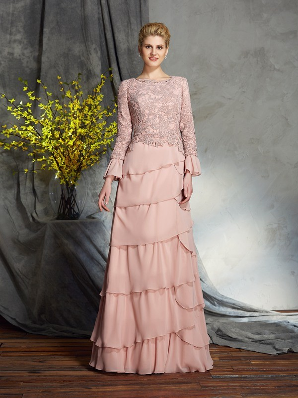 Sheath/Column Ruffles Scoop Long Sleeves Floor-Length Chiffon Mother of the Bride Dresses