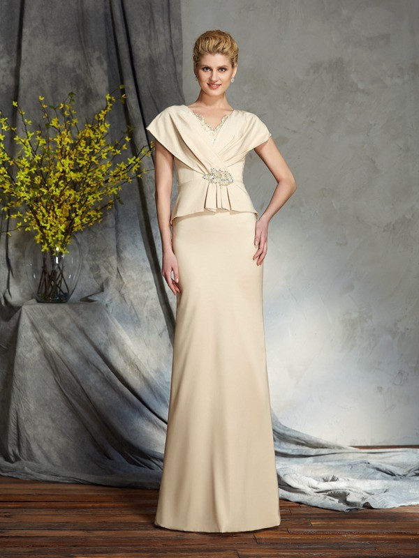 Sheath/Column Beading V-neck Short Sleeves Floor-Length Silk like Satin Mother of the Bride Dresses