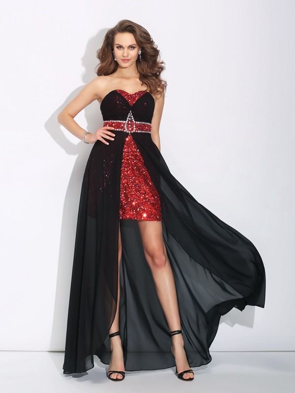 A-Line/Princess Sequin Sweetheart Sleeveless Asymmetrical Chiffon Dresses