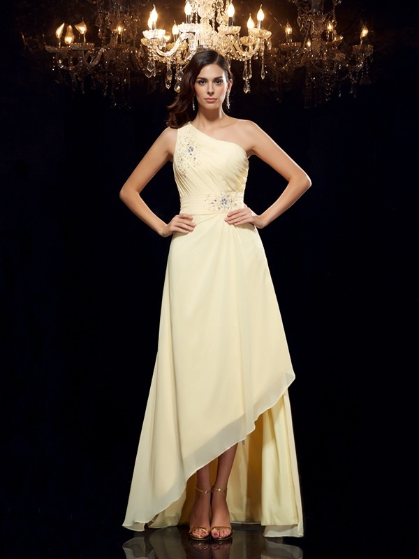 A-Line/Princess Beading One-Shoulder Sleeveless Asymmetrical Chiffon Dresses