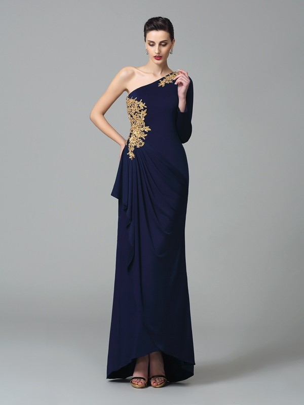 Sheath/Column Embroidery One-Shoulder Long Sleeves Floor-Length Spandex Dresses