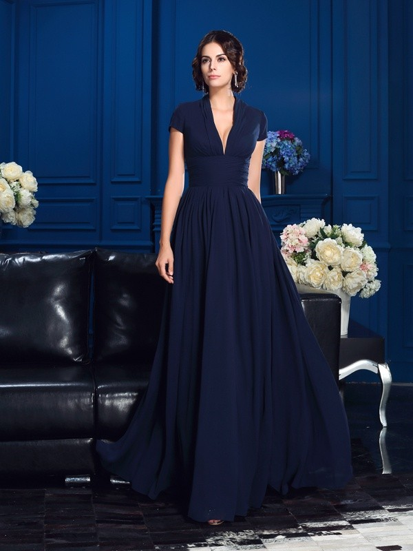 A-Line/Princess Applique V-neck Short Sleeves Floor-Length Chiffon Mother of the Bride Dresses