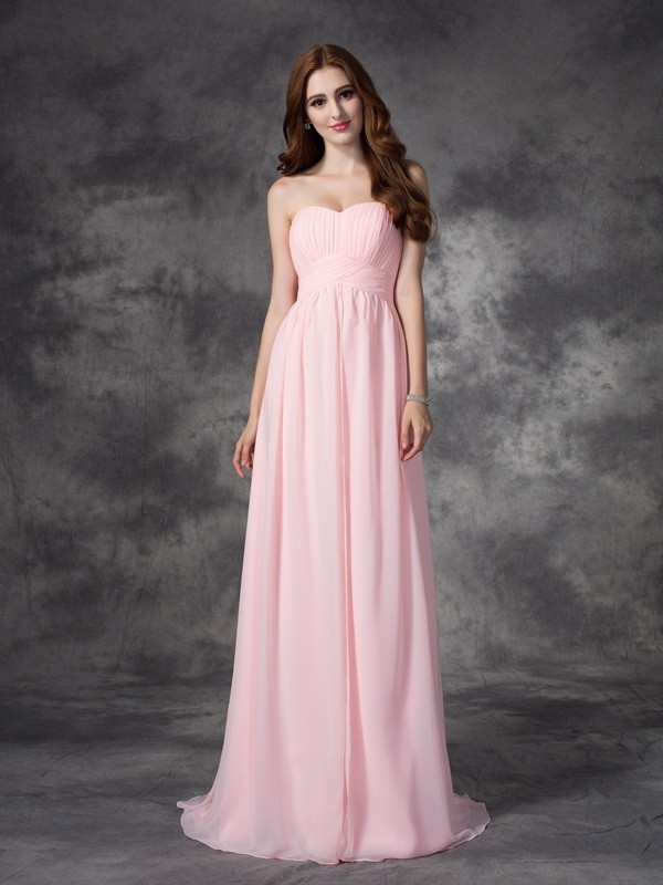 A-Line/Princess Ruched Sweetheart Sleeveless Sweep/Brush Train Chiffon Dresses